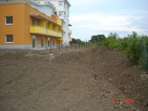 Zemní práce a terénní úpravy v okolí bytových domů Panorama Kyje